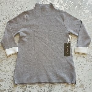 Nanette Lepore Turtleneck Sweater Contrast Cuffs